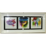 After Murciano, a trio of liquid art embellished prints, framed as one, each 28.5 x 28.5cm.