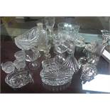 A collection of mixed glassware and crystal, to include a pair of liqueur glasses, ribbed cordial