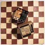 Josef Hartwig, Bauhaus - Schachspiel 'XVI' mit Textil Spielbrett, im Originalkarton, 1924