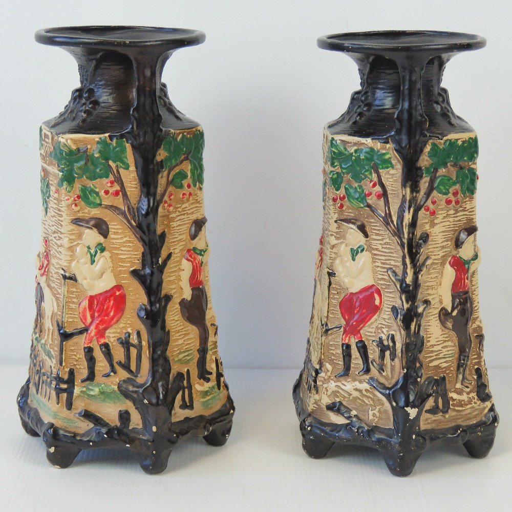 A pair of chalkware hunting themed relie - Image 2 of 4
