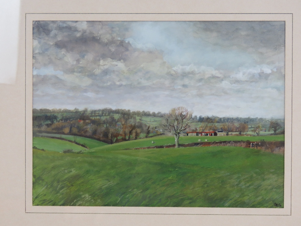 Watercolour on card; rural view of North - Image 2 of 3