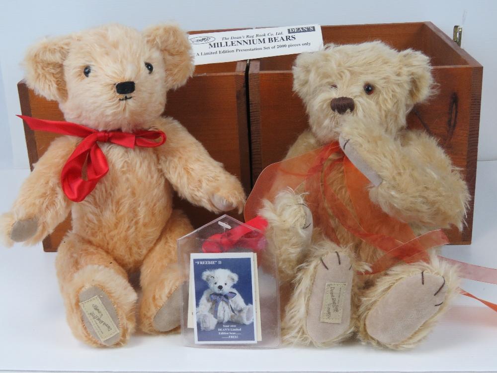 Two Dean's Millennium Teddy bears in gol