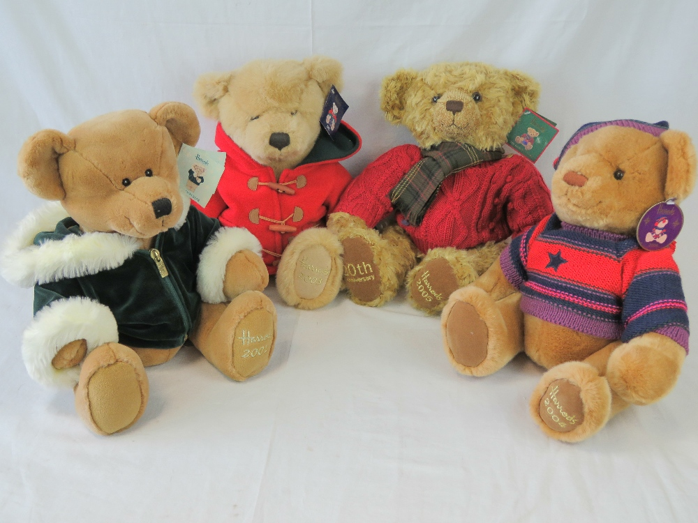 Four Harrods Christmas Teddy bears, 2001