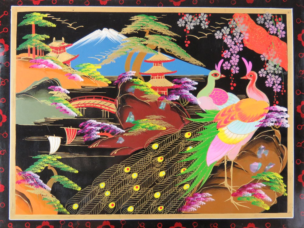A vintage Japanese black lacquer musical - Image 3 of 3