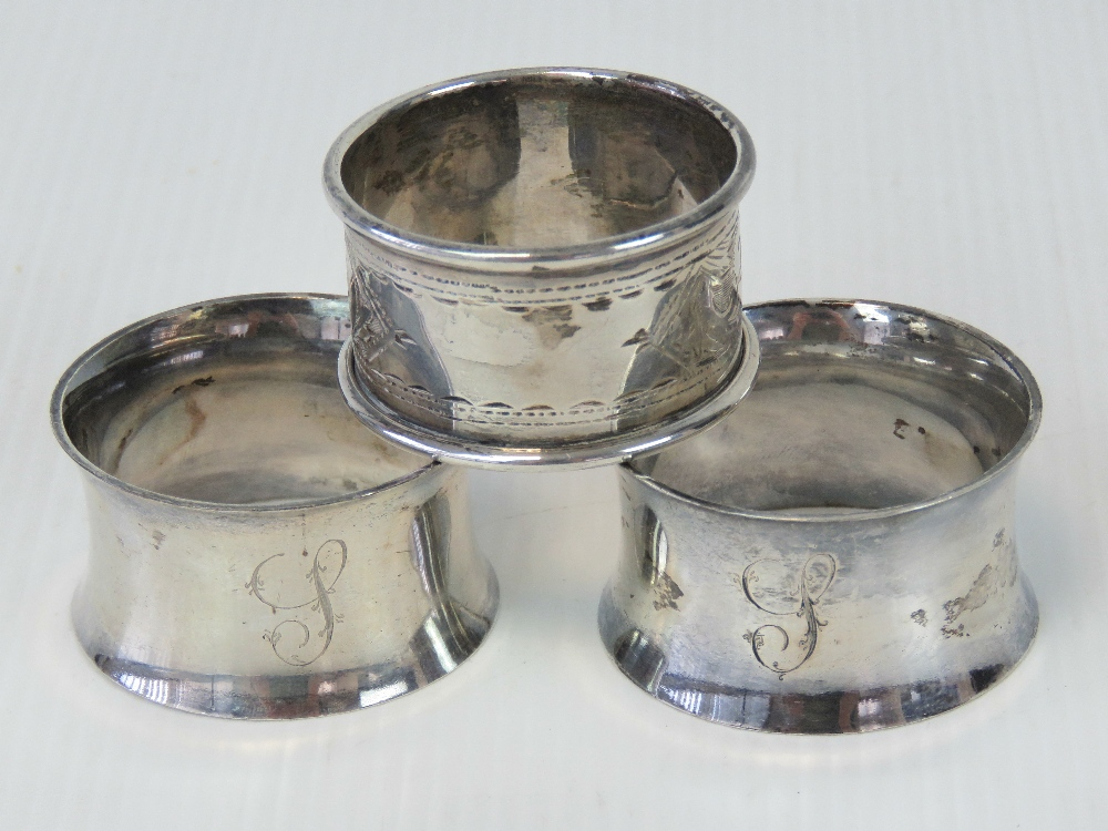 A pair of HM silver napkin rings, hallma