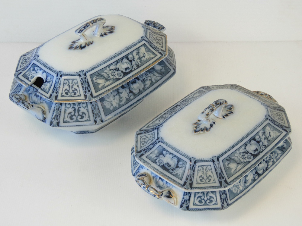 Two lidded late Victorian tureens in the