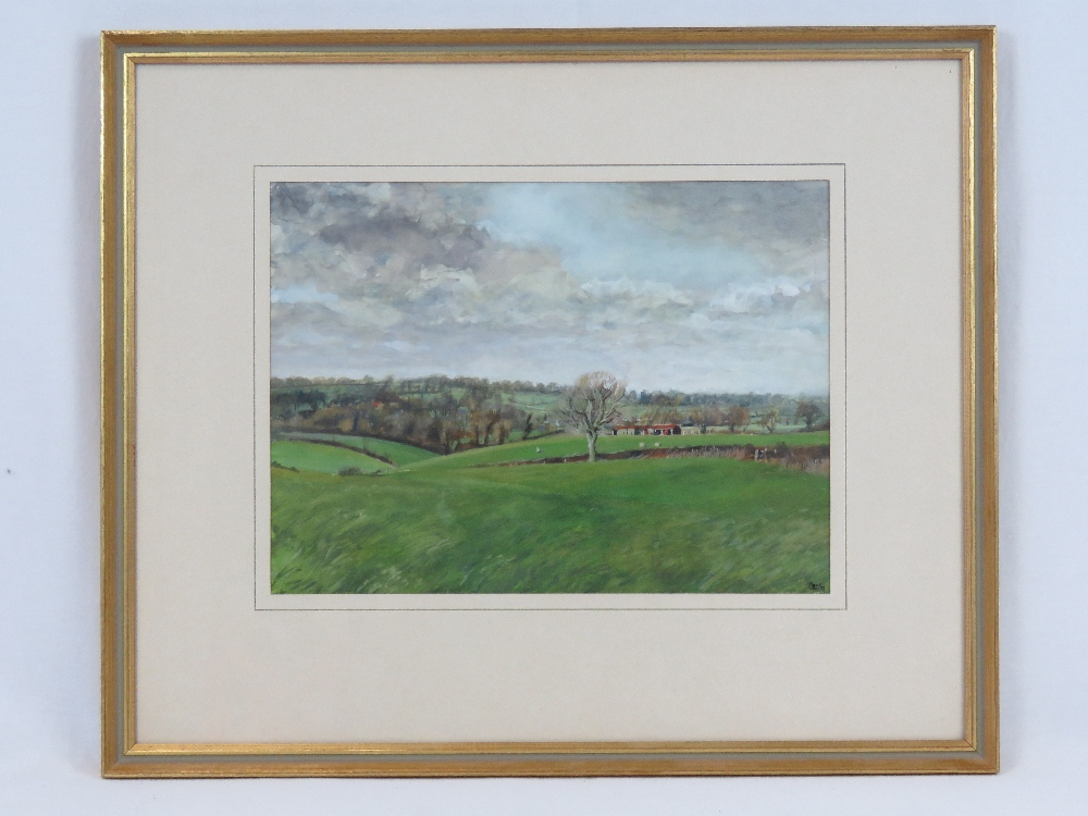 Watercolour on card; rural view of North