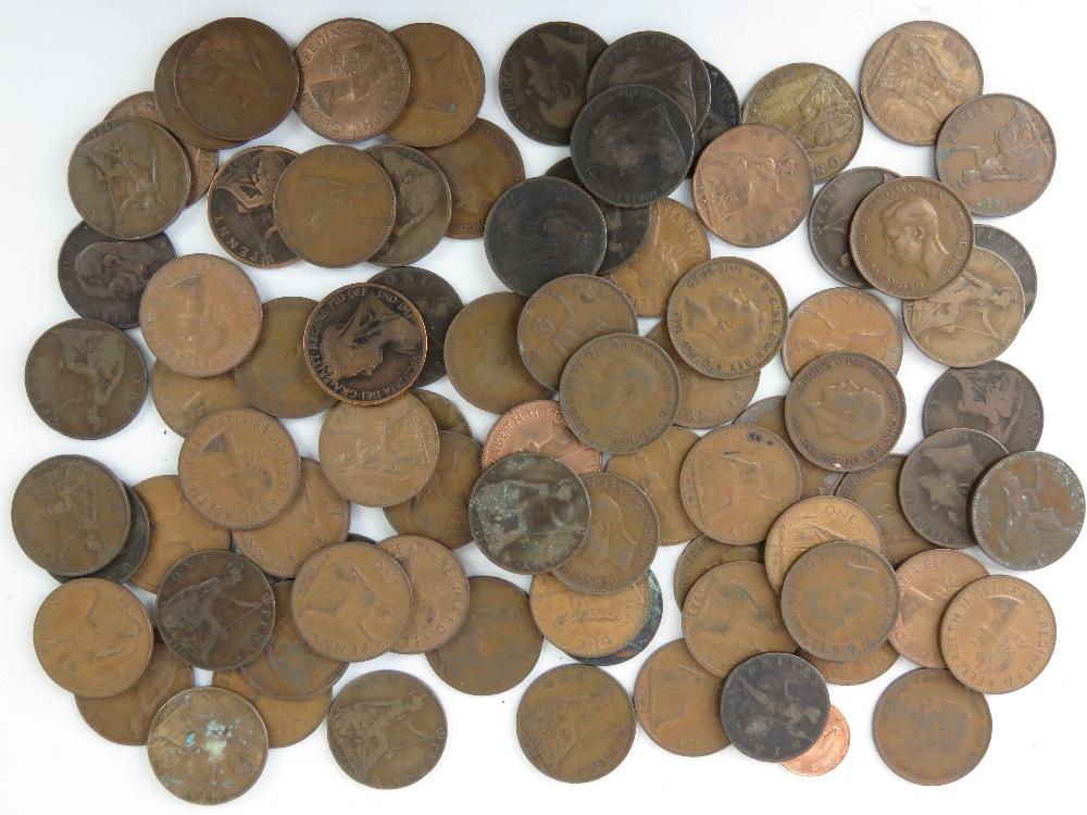 A quantity of 1d pieces, Queen Victoria