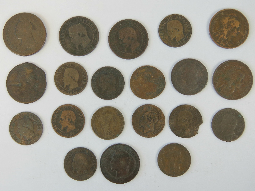 Bronze French coinage; four Napoleon III