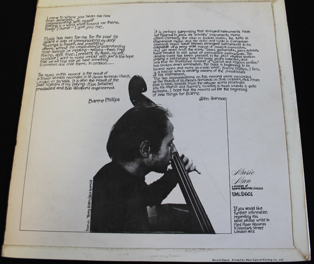 Lot 26 - BARRE PHILLIPS - UNACCOMPANIED BARRE - Seldom seen 1968 LP from the respected Californian bassist