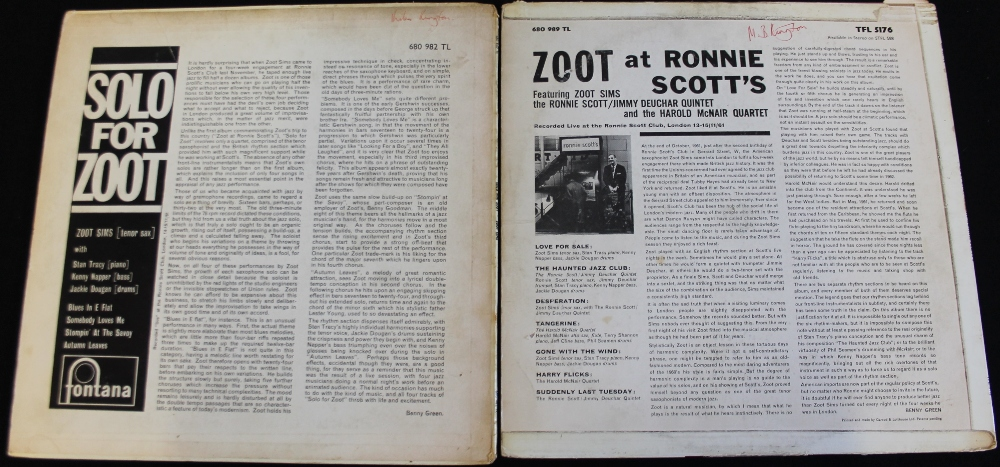 Lot 28 - ZOOT SIMMS - 2 x early Fontana issued LPs from the heralded saxophonist.
