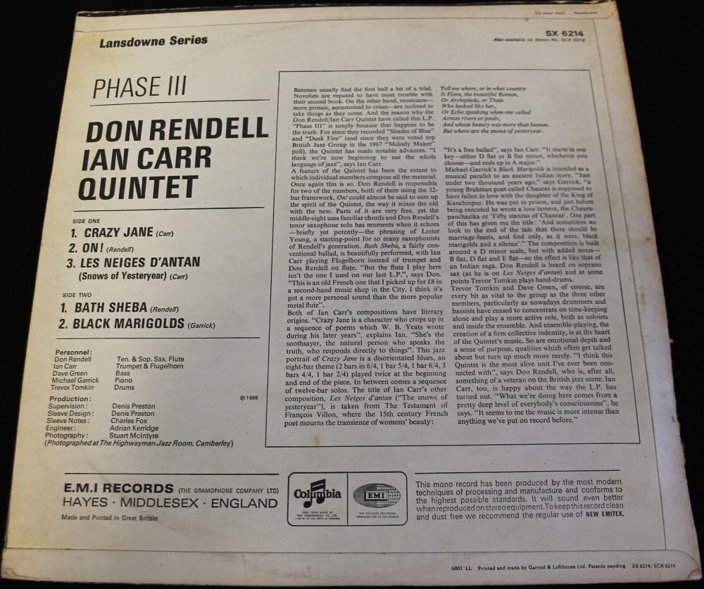 Lot 43 - THE DON RENDELL/IAN CARR QUINTET - PHASE III - Another iconic recording featuring this famous