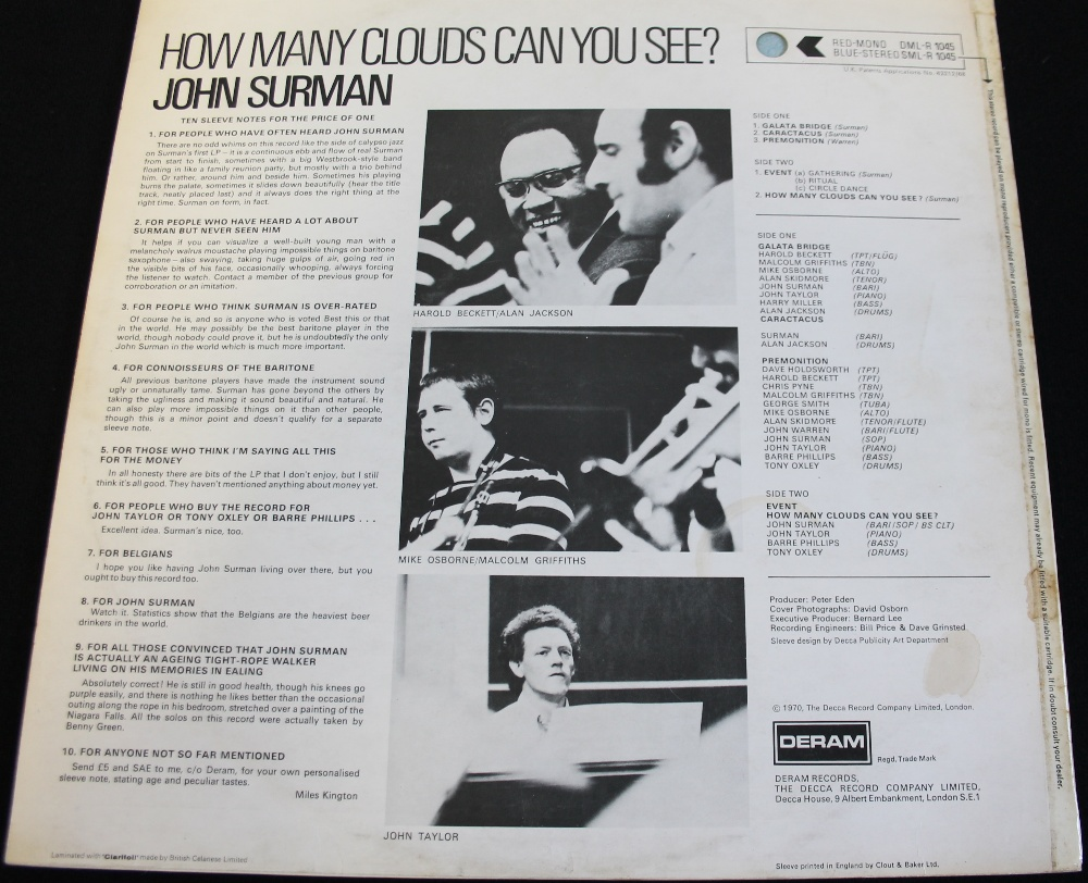 Lot 23 - JOHN SURMAN - HOW MANY CLOUDS CAN YOU SEE? - The 1st UK stereo pressing now of the celebrated