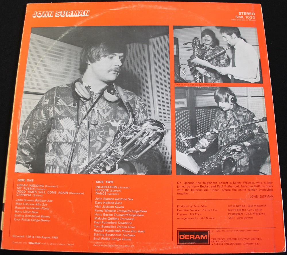 Lot 24 - JOHN SURMAN - S/T - The eponymous 1969 LP on Deram (stereo SML 1030).