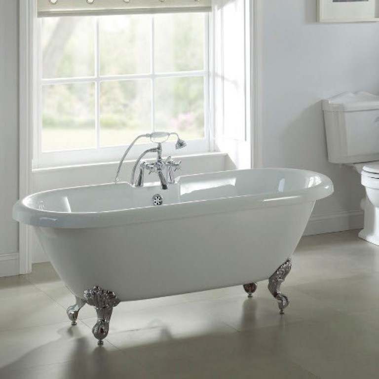 1 X Luxury Freestanding Double End Roll Top Slipper Bath With Chrome Ball Am