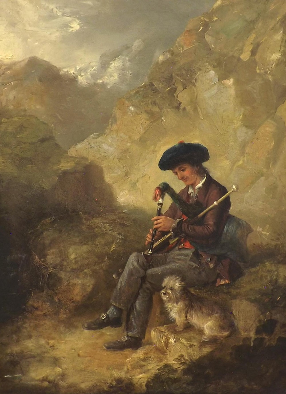 Attributed to Edward Robert Smyth (1810-1899) - boy seated on rocks playing bagpipes, a dog by his