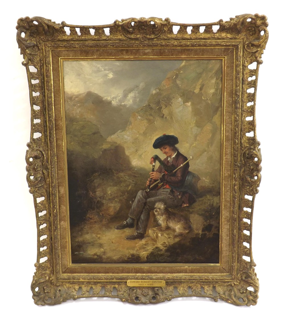 Lot 882 - Attributed to Edward Robert Smyth (1810-1899) - boy seated on rocks playing bagpipes, a dog by his