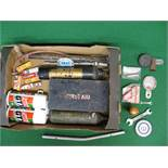 Two fire extinguishers, stirrup pump, first aid tin,