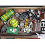Box of electrical switches, Energol can,