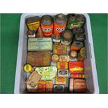 Large crate of colourful motoring cans, tins, repair outfits,