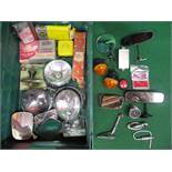 Crate of bonnet and interior mirrors, lamps, Smiths vacuum gauge,
