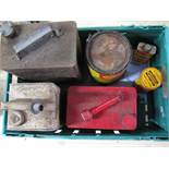 Crate of fuel, oil etc cans to include: 2 gallon Shellmex BP, Esso Blue Paraffin,