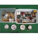 Two crates of Wipac, Miller, Ring and Halfords lamps, assorted gauges and switches,