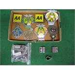 Eight AA and RAC badges together with a quantity of badge bar mounting clamps