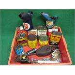 Assorted oil and grease tins, large Kaye's Oil can,