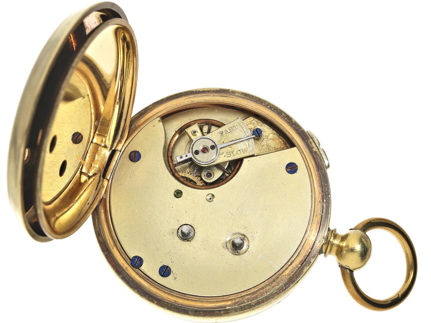 Taschenuhr: früher, großer Chronograph für den englischen Markt, Schlüsselaufzug, ca. 1890 Ca. - Bild 2 aus 3