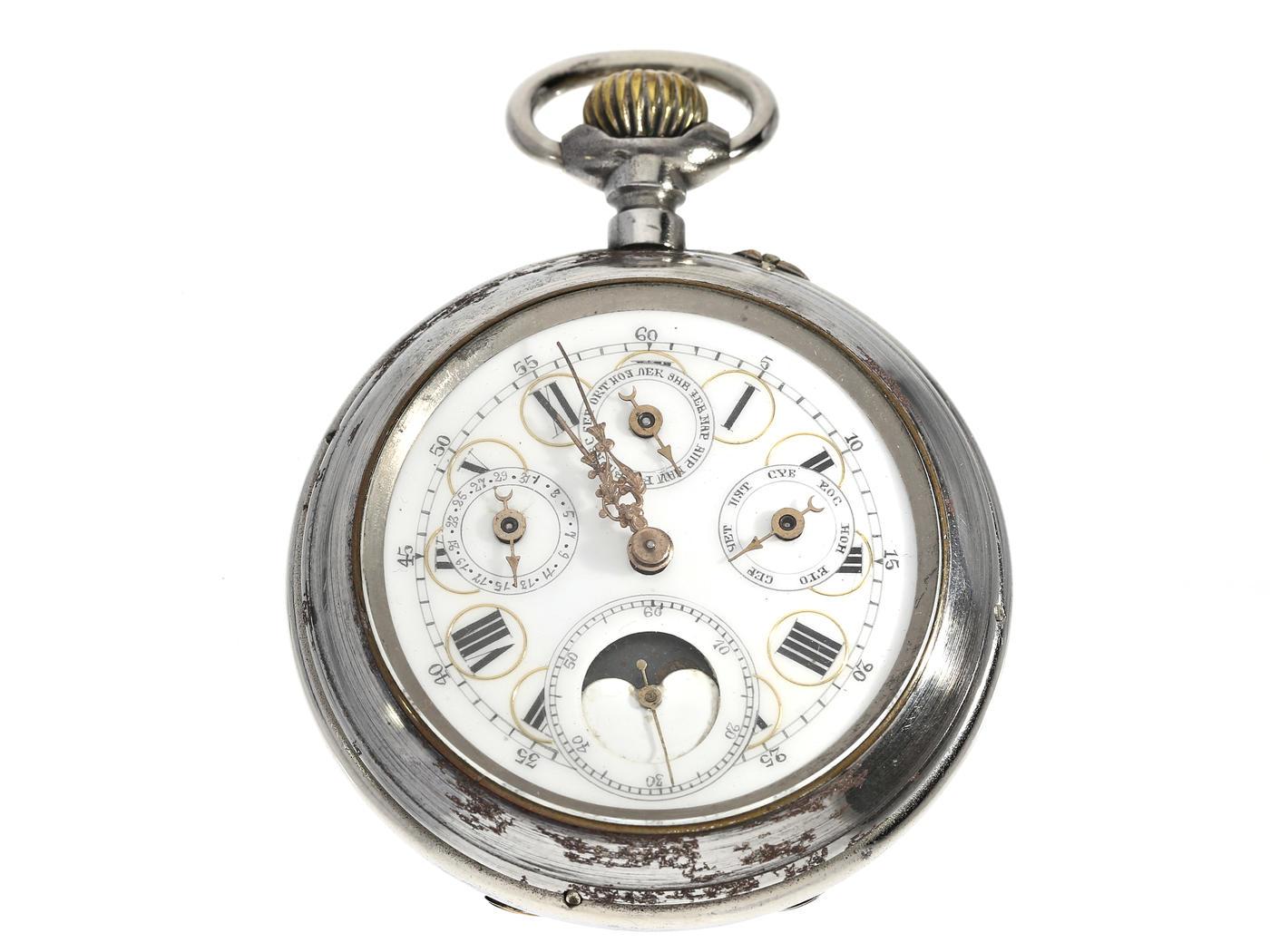 Taschenuhr: astronomische Kalender-Uhr mit seltenem Stahlgehäuse, Schweiz für den russischen