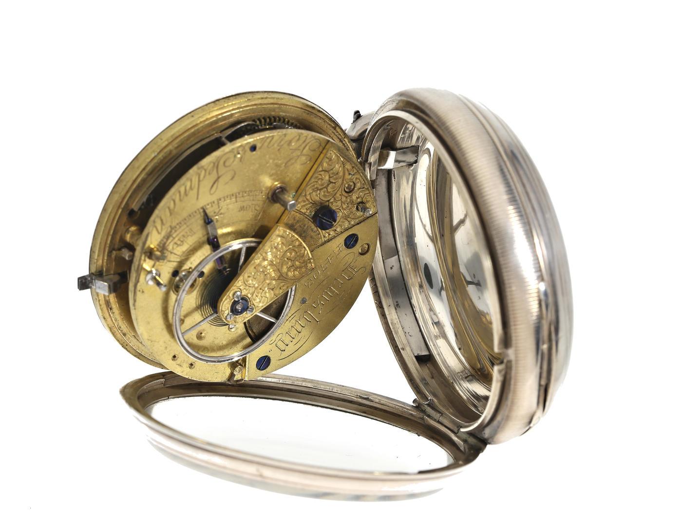Taschenuhr: besonders schwere englische Taschenuhr mit ausgefallenem Champlevé-Zifferblatt aus - Bild 2 aus 3