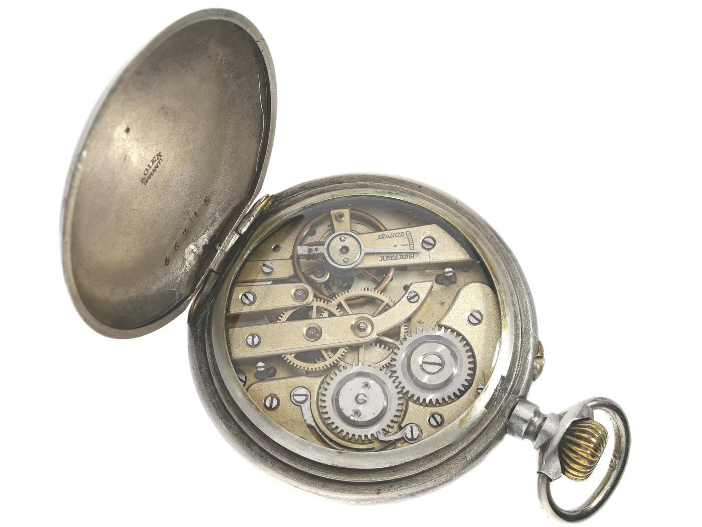 Taschenuhr: astronomische Kalender-Uhr mit seltenem Stahlgehäuse, Schweiz für den russischen - Bild 2 aus 3