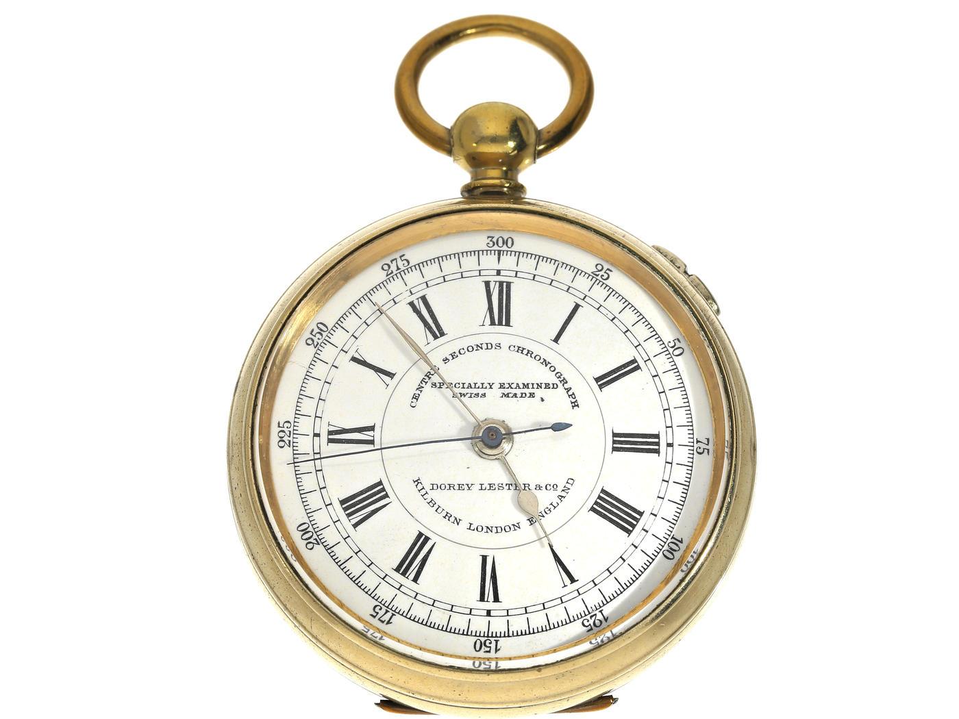 Taschenuhr: früher, großer Chronograph für den englischen Markt, Schlüsselaufzug, ca. 1890 Ca.