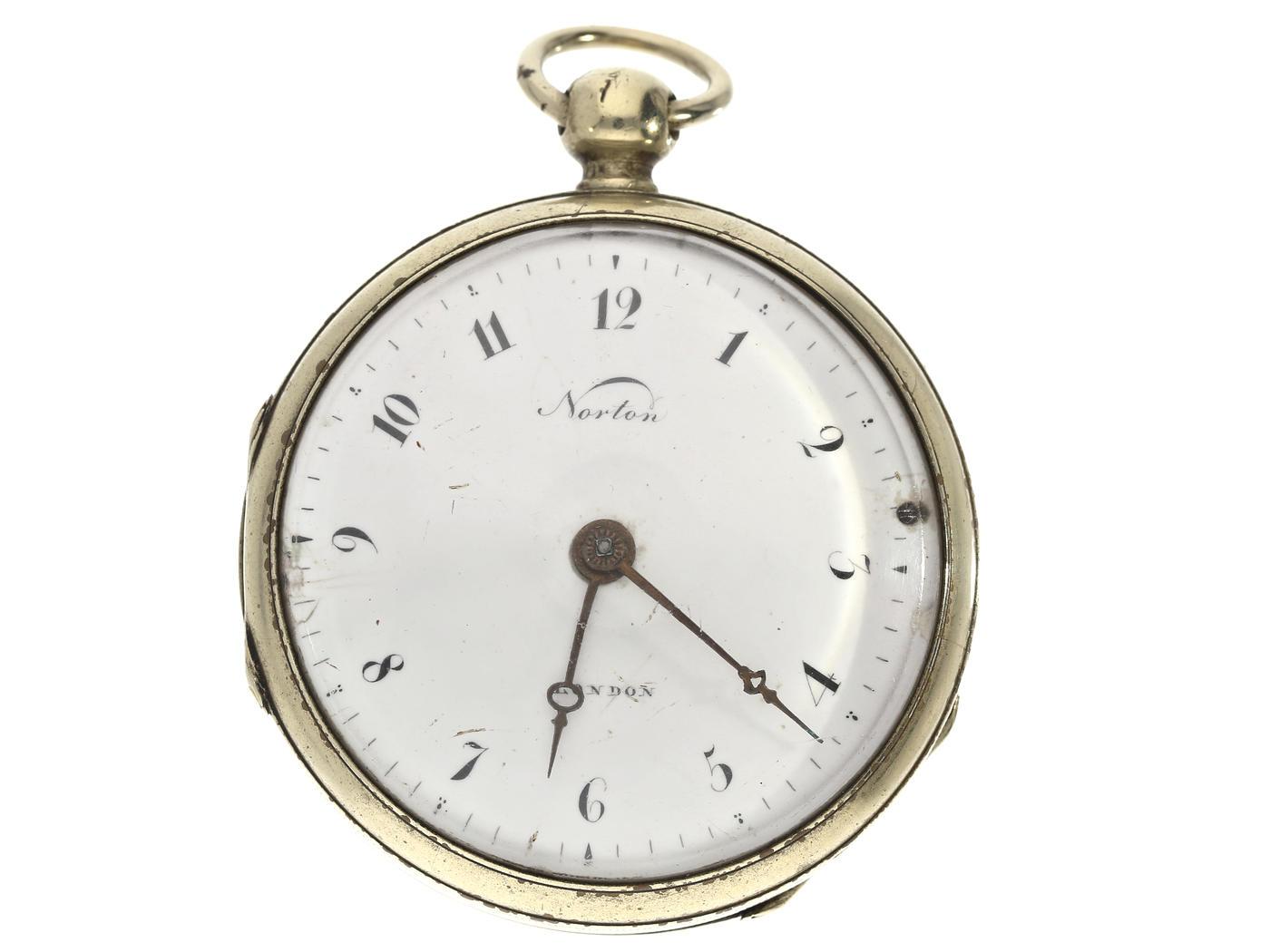 Taschenuhr: große Spindeluhr, signiert Norton London, um 1800 Ca. Ø55mm, ca. 120g, Nickelgehäuse,