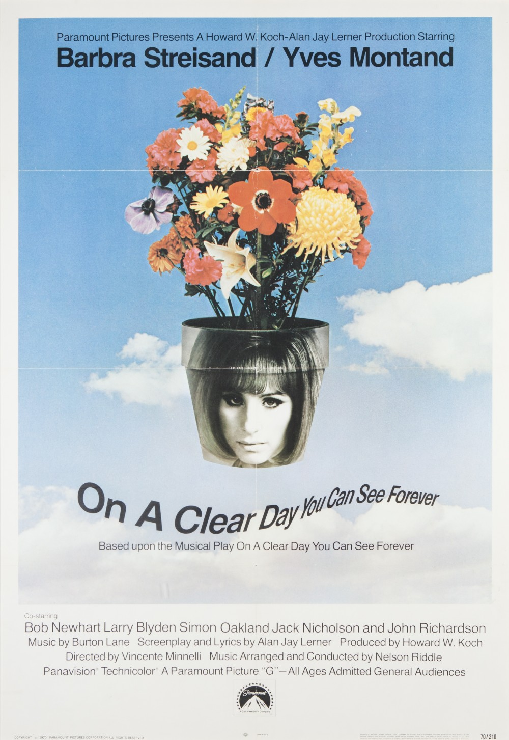 "Lot 9 - ON A CLEAR DAY YOU CAN SEE FOREVER, PARAMOUNT 1970 US one sheet, 39"" x 27"", featuring Barbara"