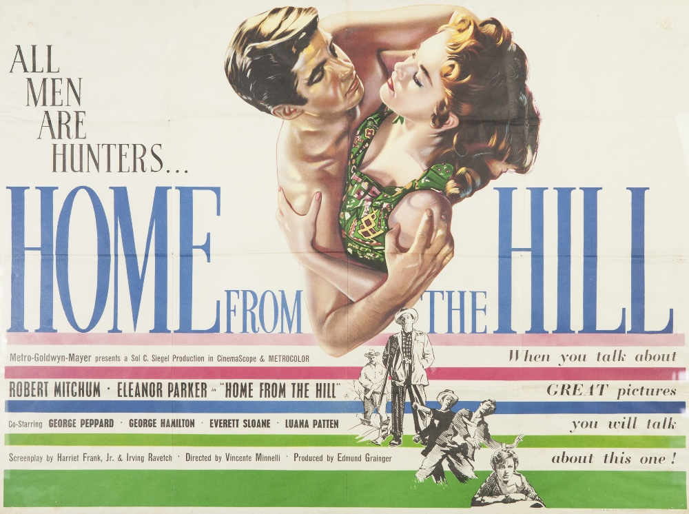 """Lot 15 - HOME FROM THE HILL, M.G.M. 1960, British quad, 29 1/2"""" x 39 1/2"""" (sight), featuring Robert Mitchum"""