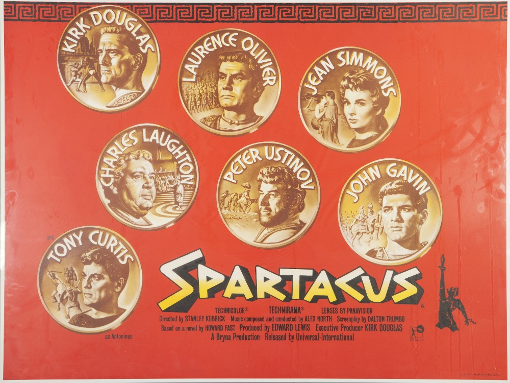 """Lot 13 - SPARTACUS, UNIVERSAL 1960, British quad, 30"""" x 40"""" (image) featuring Kirk Douglas and Laurence"""
