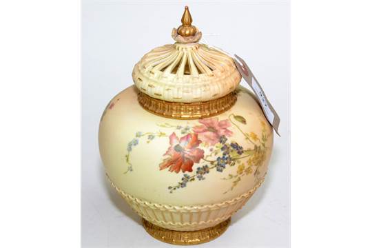 A Royal Worcester Late Victorian Blush Ivory Ground Potpourri Vase