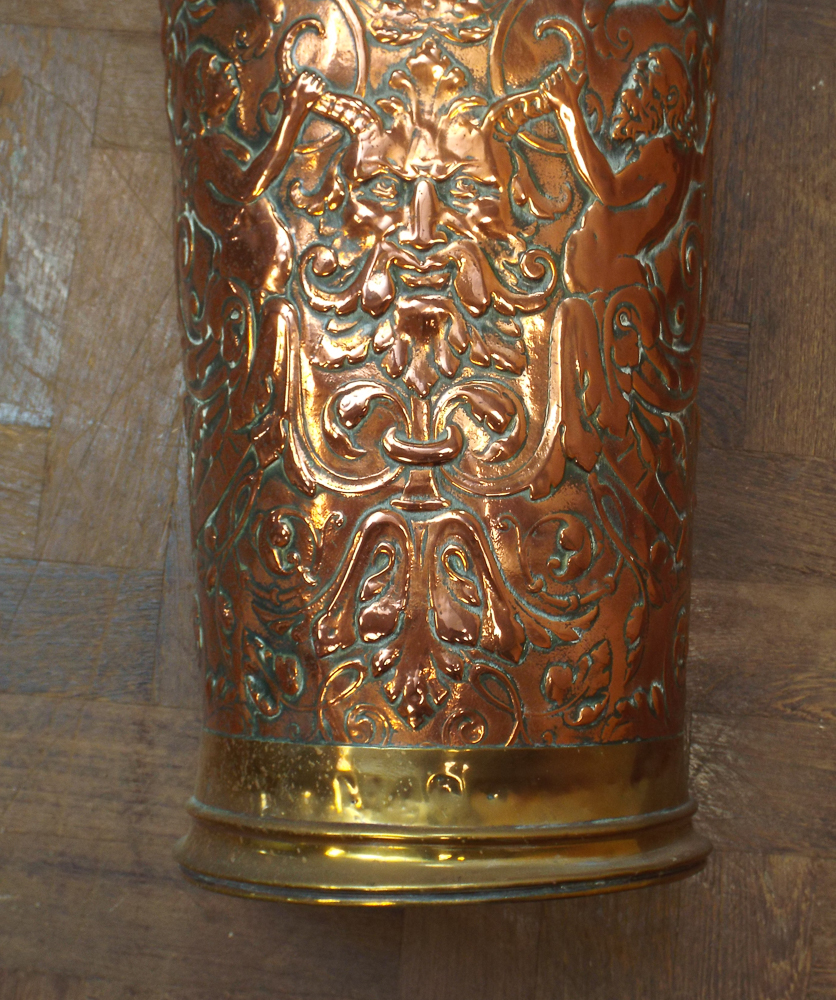 Brass Umbrella Stand Embossed: Brass And Copper Embossed Stick Stand/umbrella Stand And 2