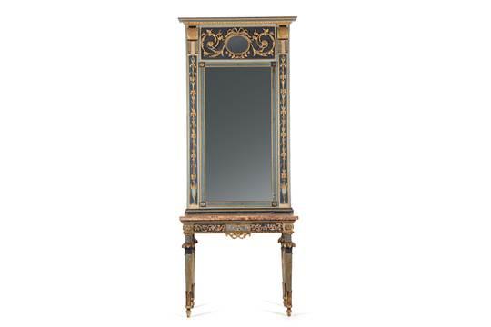 Console in stile Luigi XVI con specchiera in legno dipinto e dorato ...