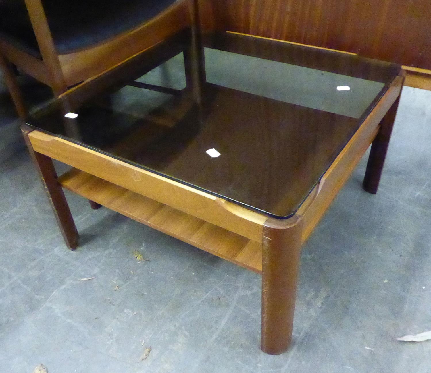 1960's/70's TEAK OBLONG COFFEE TABLE, WITH SMOKED GLASS TOP AND A MATCHING SQUARE COFFEE TABLE - Image 2 of 2