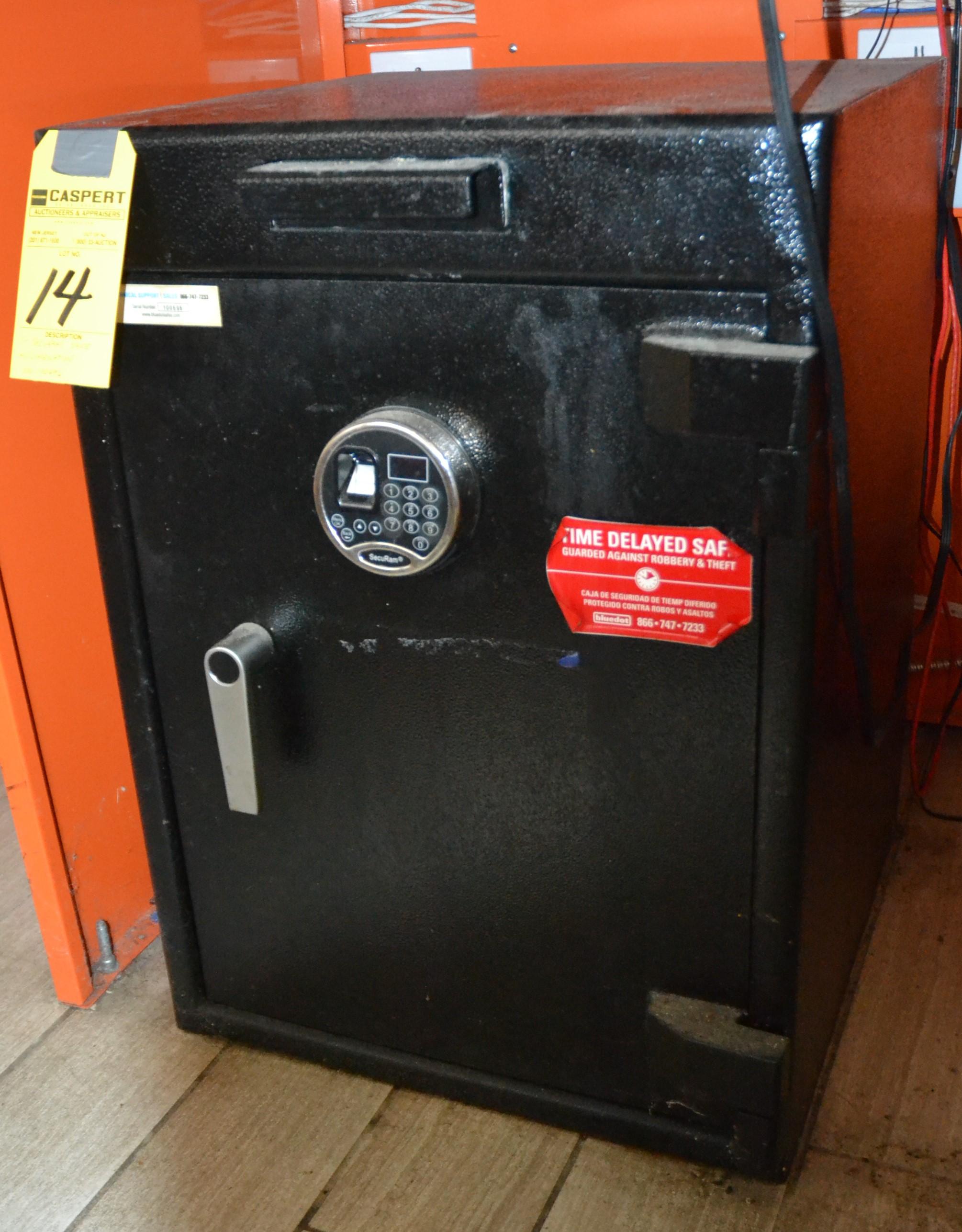 Lot 14 - SECURAM ELECTRONIC DROP SAFE W/ COMBINA.