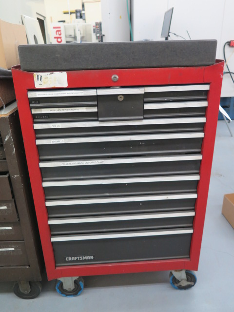 "Lot 11 - Craftsman 12-Drawer Roll-A-Way Tool Box w/ 18"" x 24"" x 3"" Granite Surface Plate"