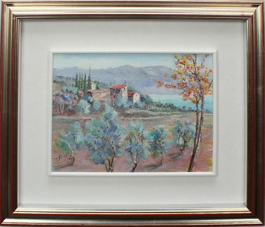 Lotto 21 - Paesaggio a Bardolino, Donà, olio, cm. 35x25