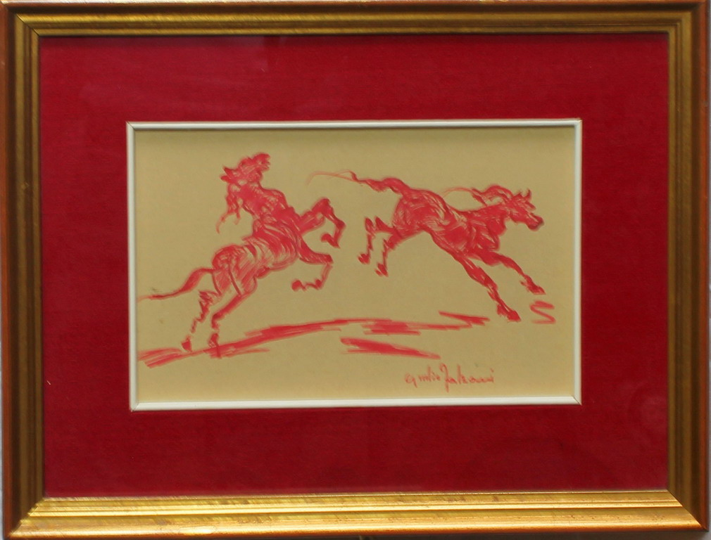 Lotto 32 - Cavalli, Giulio Falzoni, disegno, cm. 22x15