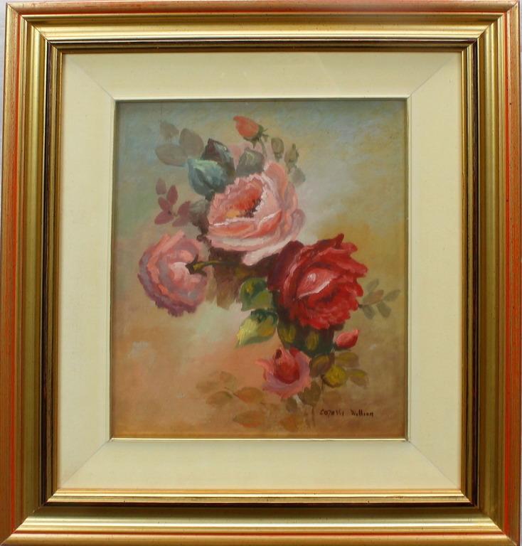 Lotto 13 - Rose, Carassi, olio, cm. 23x29