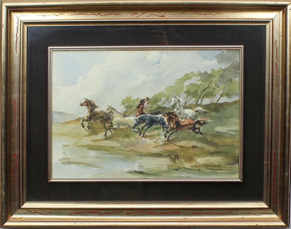 Lotto 16 - Fuga di cavalli, Corniani, acquerello, cm. 50x36
