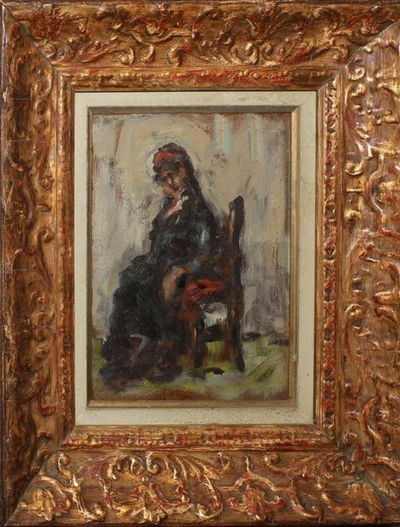 Lotto 6 - Studio di zingara, firmato Luigi Belluzzi della Mainolda 62, olio su faesite, cm. 10x20 circa
