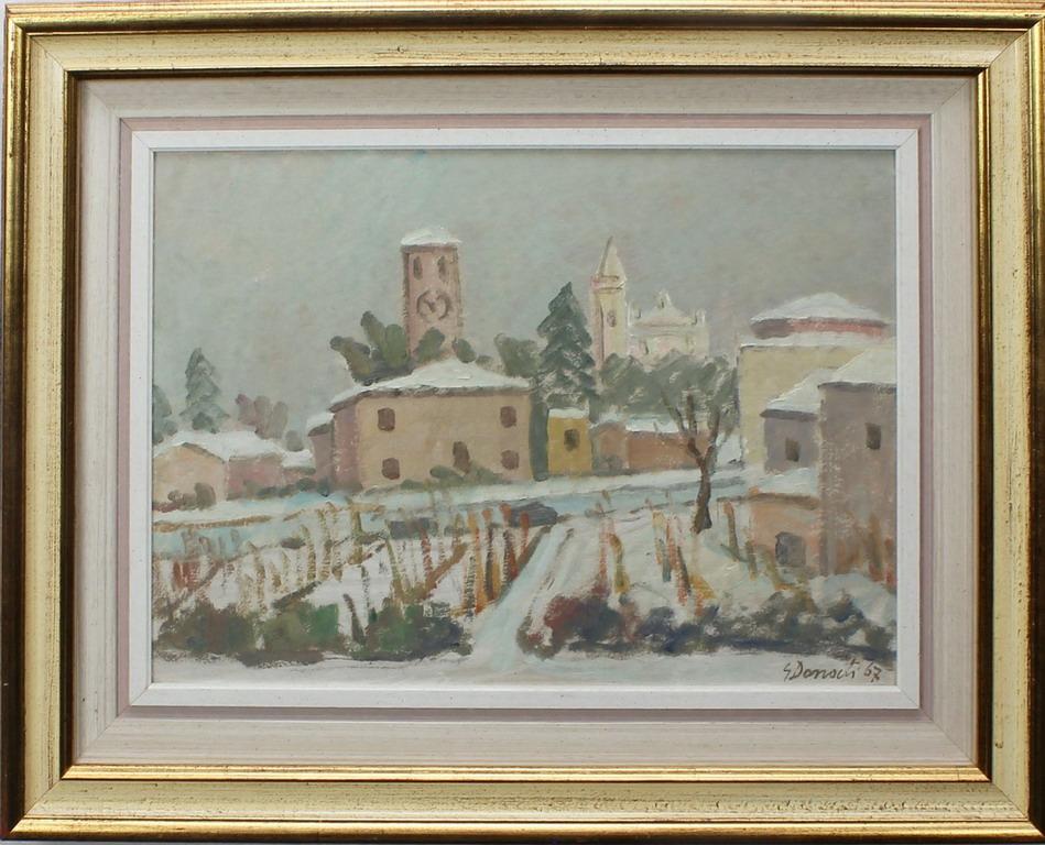 Lotto 28 - Chiesetta e case, Donati, olio, cm. 46x34